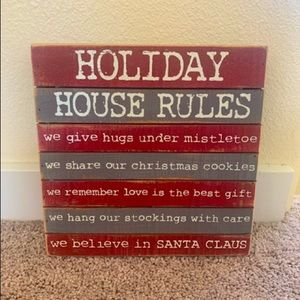 Holiday House Rules Wooden Sign 🎄